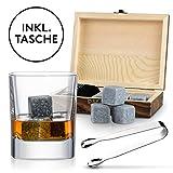 Lacari ® Premium Whisky Steine Geschenkset - 9 Wiederverwendbare Eiswürfel - GRATIS Holzbox sowie Edelstahl Zange und kostenlosem EBook - Whiskeysteine aus Speckstein