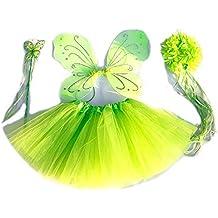 Tante Tina - Disfraz de hadas mariposa - Alas, Falda tutú, Varita mágica y Diadema - Verde con Diadema