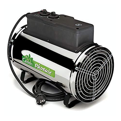 Bio Green Elektrogebläseheizung Phoenix, silber/schwarz – IP X4 Spritzwassergeschützt für Gewächshäuser