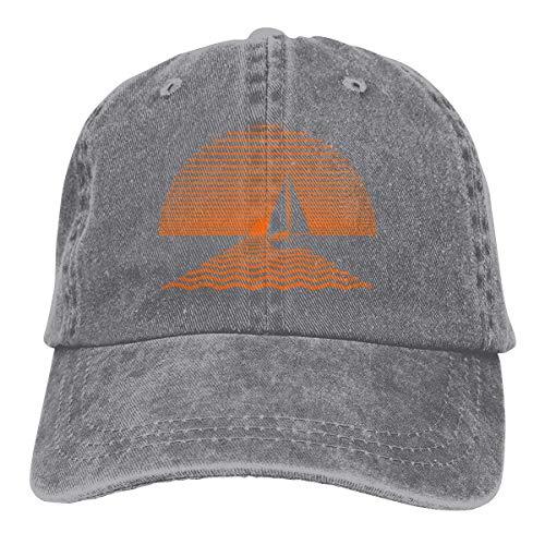 Hoswee Unisex Kappe/Baseballkappe, Sunset Sailboat Cowboy Caps Adjustable Snapback Baseball Hats Gray - Ralph Lauren Denim Weiß