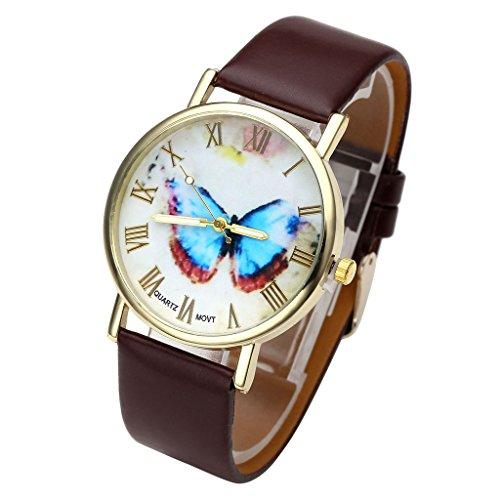 JSDDE Uhren,Damenmode Butterfly Schmetterling Basel-Stil Damenuhr Lederarmband Analog Quarzuhr Armbanduhr,Kaffee