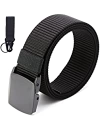 KingNew - Cinturón de lona de nailon transpirable, táctico militar, con hebilla de plástico (negro)
