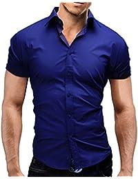 MERISH chemise homme manches courtes Slim Fit Business et casual beaucoup de couleurs différentes adapté pour le travail, les loisirs et toutes autres occasions Modell 77