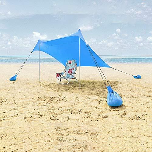 Lovebay Tente de plage avec Sacs de Sable Ancres-Portable Extérieur Abri Solaire de Plage Auvent inclus Pole-Léger lycra Pare-Soleil avec Protection UV Etanche pour Randonnée--Bleu