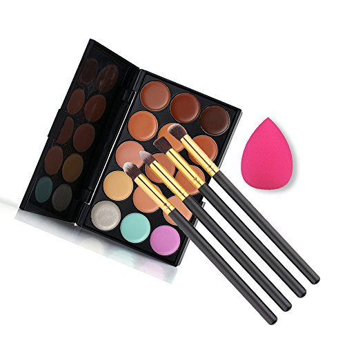 Set de Maquillage 4pcs Pinceaux 15 couleurs Makeup Concealer Palette 1 Powder Puff Brush 1 coussin