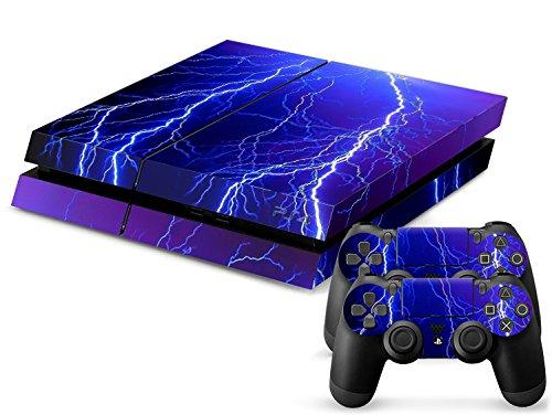Sony PS4 Playstation 4 Skin Design Foils Aufkleber Schutzfolie Set - Lightning Motiv