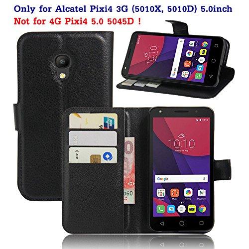 Guran® Ledertasche Tasche für Alcatel Pixi 4 (5,0 Zoll) Smartphone Flip Cover Standing Funktion und Kartensteckplatz Case