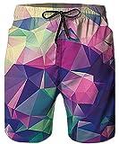 Idgreatim Herren 3D Gedruckt Boardshorts Coole Strand Swim Shorts Hawiian Swim Trunks für Sommerferien Urlaub L
