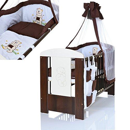 Baby Kinderbett BÄR 120×60 cm weiss braun mit 9 teiligen Bettwäsche Komplettset und Matratze