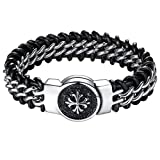 Aoiy - Bracelet Homme - Acier Inoxydable - and Leather Fleur-de-lis Croix - grand et lourd - Biker Bracelet, 22.3cm, ccb012