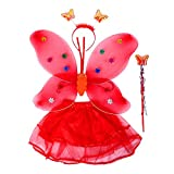 4 piezas de las niñas mariposa trajes de hadas tutú falda diadema varita y la luz LED alas Set niño niños cosplay Halloween Party Dressup color al azar