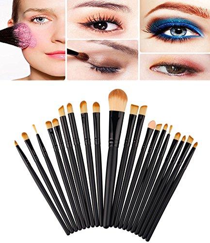 Demarkt Pinceau Maquillage Brosse Cosmétique Professionnel Fondation Outils Ombre à Paupières Eyeliner Makeup Brush Lip Sourcils 20 PCS/Set Noir