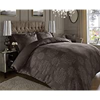 Luxury 600TC Thread Count Jacquard Duvet Cover Set Super Soft Cotton Rich Warm & Comfortable Bedding-Brown Ornamental