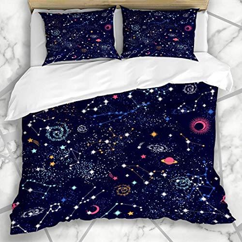 Erde Bettbezug Set (Bettbezug-Sets Erde Blauer Stern Raum Galaxie Sternbild Muster Tief Abstrakt Natur Universum Astrologie Planet Mikrofaser Bettwäsche mit 2 Kissenbezügen)
