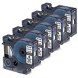 5x Anycolor 45013 Etikettenband schwarz auf weiß Band Kompatibel zu Dymo D1 45013 S072053 12mm x 7m Schriftband für den Drucker LabelManager Label Manager 160, Label Manager 210D, LabelManager 450D