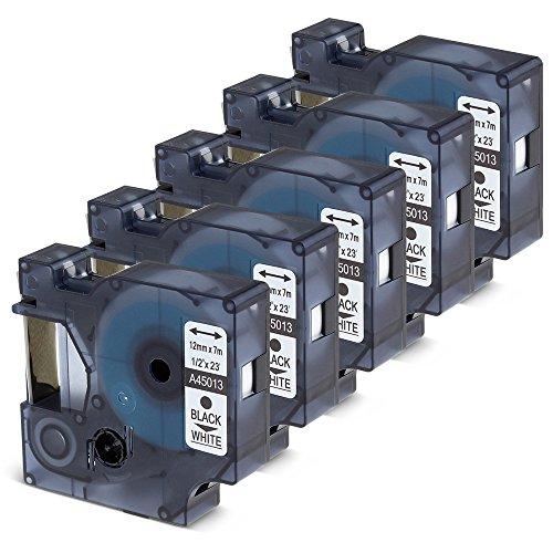 5x Schwarz auf Weiß Band Kompatibel zu Dymo D1 45013 S072053 12mm x 7m Schriftband für den Drucker LabelManager Label Manager 160, Label Manager 210D, LabelManager 450D