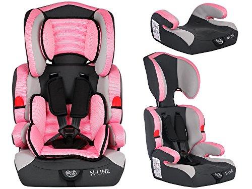 Autokindersitz Autositz Kinderautositz mit Extrapolster Kids 9-36 kg 1+2+3 ECE 4 Farben Kindersafety NEU + ECE R44/04 geprüft, 4 Farbe, 5-Punkte-Sicherheitsgurt Kopfstütze verstellbar ... (KP0039PIN)