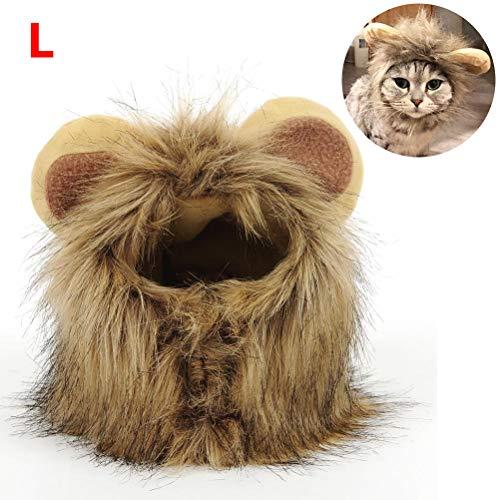 Zu Machen Sie Hause Katze Kostüm - Löwenmähne Perücke mit Ohren - Foto Prop, Kostüm für große Hunde & Katzen - Perfekter Löwen Hut für Halloween & Cosplay Partys - Realistische, lustige, süße Kopfbedeckung