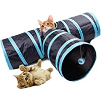 Fontic Túnel Gato mascota Juguete de Gato PET Plegable Divertido Juego Juguete Tubo de 3 Vías para Conejos Gatitos Perros