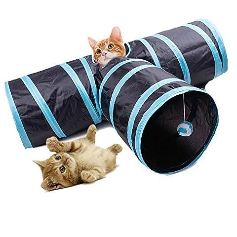 Fontic 3 Wege faltbar Kaninchen Tunnel Katzen Tunnel Spielzeug Katzentunnel mit Wackelig Ball für katzen, Hunde Kaninchen und Welpen