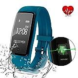 AGPtEK Herzfrequenz Fitness Tracker, Aktualisiert Aktivität Tracker mit mehreren Sportmodi, IP67 Wasserdichte Touchscreen Smart Pedometer für Android und IOS Smart Phone, grün