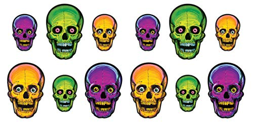 e Halloween Nite-Glo Totenkopf-Ausschnitte, 12-teilig, 21,6 cm & 32,75 cm, mehrfarbig ()
