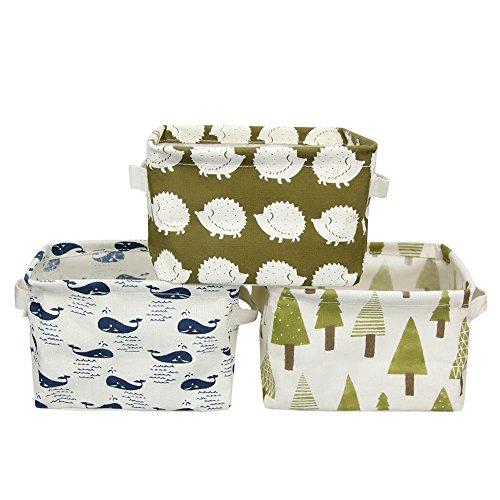 Owfeel Deskt Leinen Baumwolle Stoff Aufbewahrungsbox quadratisch für Organisieren 3 Stück
