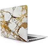 iDOO MacBook Schutzhülle / Hard Case Cover Laptop Hülle [Für MacBook Air 13 Zoll: A1369/A1466] - matt, Weiss-goldener Marmor