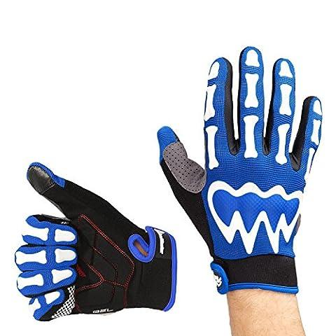 OutdoorMaster Bike Gloves - Half Finger/Full Finger Bicycle Gloves for Men & Women (Full Finger, Blue,