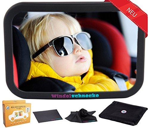 Rücksitzspiegel Autospiegel Baby 6 Teile XXL Set mit Ebook I Universeller Sicherheitsspiegel Babyspiegel für Kinder in Kindersitz I Das beste Rückspiegel Baby Spiegel Auto Set für Babyschale Babysitz