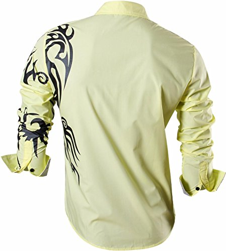 jeansian Homme Chemises Casual Shirt Tops Mode Men Slim Fit Z001 yellow