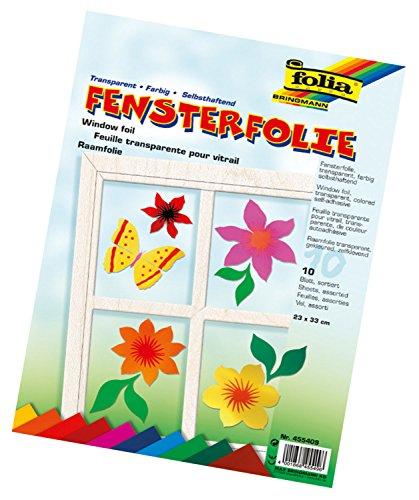 folia 455409 - Fensterfolie, 23 x 33 cm, 10 Blatt, Farbig Sortiert