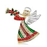 Skyeye Broche de Navidad Simple Dama Ángel de la Navidad Personaje de Regalo Fiesta de Disfraces Broche Decoración