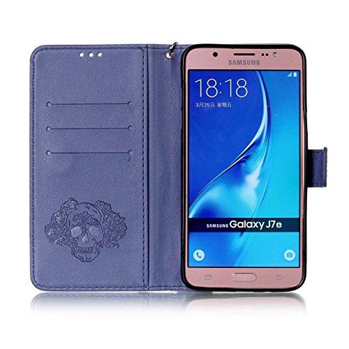 Custodia Samsung Galaxy J7 2016, ISAKEN Samsung Galaxy J7 Cover con Strap, Elegante borsa Dente di leone Design in Pelle Sintetica Ecopelle PU Case Cover Protettiva Flip Portafoglio Case Cover Protezi cranio:blu