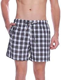 Hawiton Pantalon Pijama Corto Hombre Verano de 100% Algodon Pantalones Cortos Elástico Pantalones de Dormir