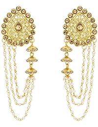 The Luxor Gold Plated Pearls Tassel Bahubali Jhumki Earrings For Girls And Women(ER-1801)