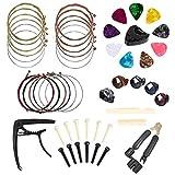 SISHUINIANHUA Accessori per Chitarra Kit 49 Pz Guitar Picks Strumento comprese Chitarra, Capo, Corde della Chitarra Acustica, String Winder, Ponte Pins, Pin