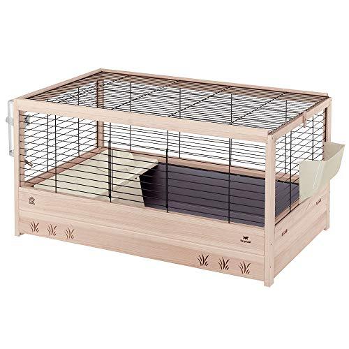 Ferplast arena 100 gabbia per conigli, porcellini d'india, casetta per piccoli animali, conigliera con accessori inclusi, legno resistente, nero, 100 x 62,5 x 51 cm