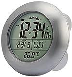 Technoline WT 3000 Horloge de salle de bains radio-pilotée en aluminium (argent avec batteries)