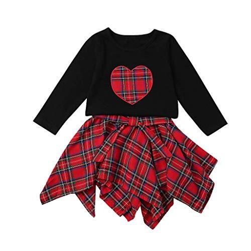 Fenverk 2Pcs Kleinkind Kind Baby MäDchen Kleidung Langarm Pageant Party Prinzessin Kleid Kinder Outfits Kariertes +Kleider(rot,90)
