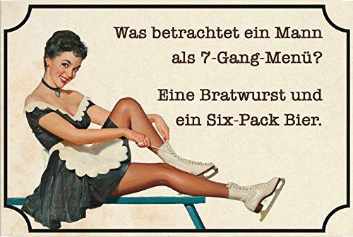 """""""Was betrachtet ein Mann als 7-gang-Menü? Eine Bratwurst und ein Six-pack Bier"""" lustig, spruchschild, blechschild, retro, nostalgie"""