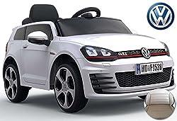 ES-TOYS Kinderfahrzeug - Elektro Auto VW Golf 7 GTI - lizenziert - 12V7AH Akku,2 Motoren- 2,4Ghz Fernsteuerung, MP3-Weiss