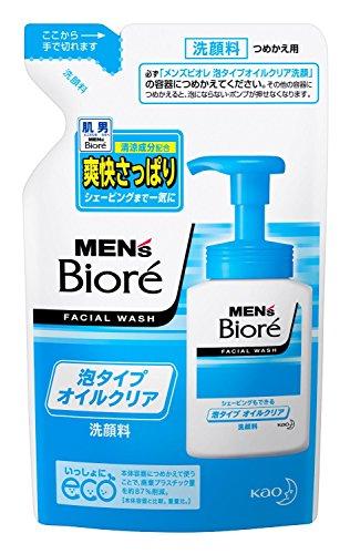 biore-mens-facial-wash-oil-clear-bubble-type-refill-130ml-green-tea-set-is