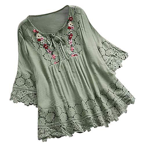 SSUPLYMY Damen Blusen Elegante Oberteile V-Ausschnitt Tops Casual Hemd Langarm Shirt Damen Sommer Mode Spitze 3/4 Halbhülse Tops Sexy Kausalen V-Ausschnitt Bluse Shirts -