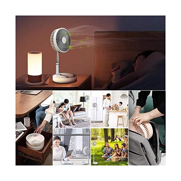 Potente Ventilador Silencioso 1 Pieza 7200 mah 5V Ventilador USB Recargable Port/átil Telesc/ópico Ventilador Torre FGRYB Mini Ventilador de Pie /Ángulo Ajustable Ventilador de Sobremesa