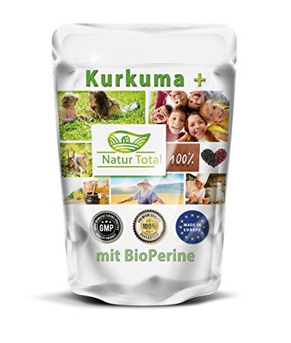 Kurkuma mit BioPerine 250 vegetarische Kapseln hochdosiert - XXL Beutel - Curcuma plus Bioperine verbesserte Bioverfügbarkeit .