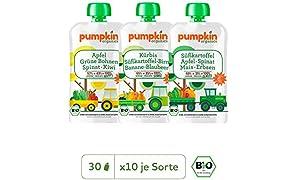 Pumpkin Organics SUPER PACK Bio Gemüse Quetschies, 30er Pack (30 x 100g) - Zwischenmahlzeit für Babys ab dem 6. Monat