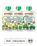 Pumpkin Organics SUPER PACK Bio Baby-Brei (Genuss, Sonnig, Happy) Quetschbeutel 30er Pack (30 x 100g) - Für Kinder und Babys ab dem 6. Monat