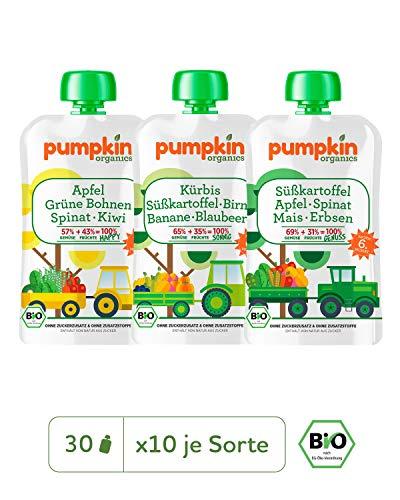 Pumpkin Organics SUPER PACK Bio Gemüse Quetschies, 30er Pack (30 x 100g) - Zwischenmahlzeit für Babys ab dem 6. Monat -