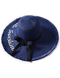 Ankamal Elec 2018 Nuevo Verano Sombrero de Paja Playa Femenina Sombrero  Grande Letras Bordadas en Bruto 130ae23b559